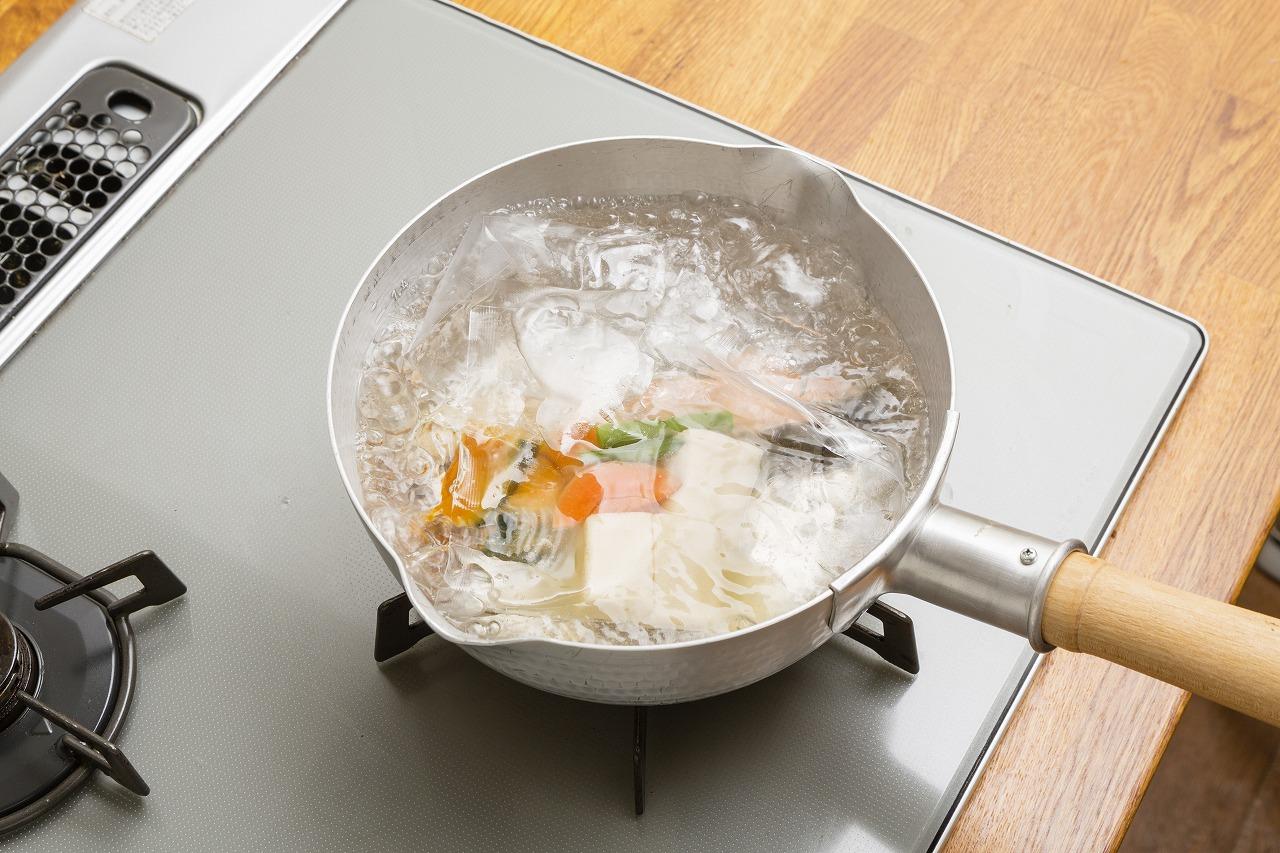 わんまいるの湯せん調理
